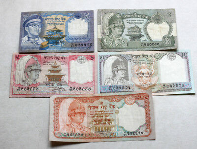 1+2+5+10+20 Rupees, Bank of Nepal, 1987.