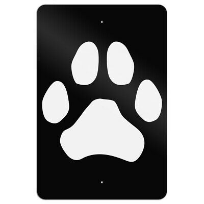 Paw Print Dog Cat White on Black Home Business Office Sign