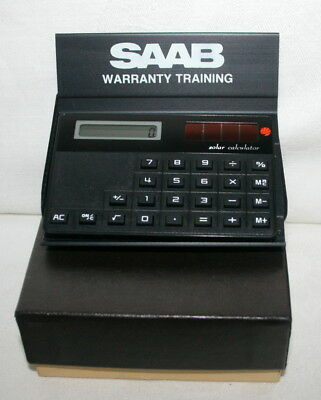 Vintage SAAB Solar Calculator with Desk stand and pouch in original box