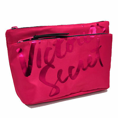 Victoria's Secret Double Zip Makeup Bag Travel Cosmetic Case Toiletries Vs New
