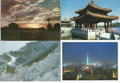 6 Posted Postcards From China With 10 Stamps
