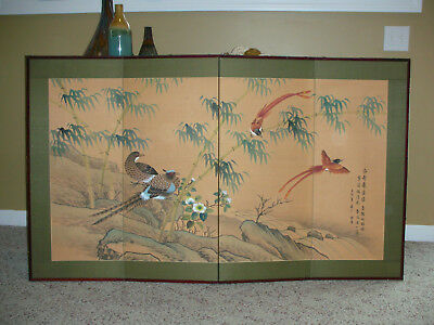 vintage Japanese oriental Vintage 4 Panel Silk Screen Hand Painted Scene