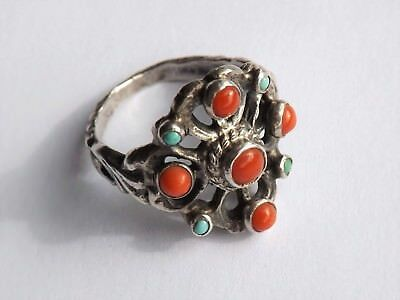 Antique Arts & Crafts Silver Turquoise & Coral Ring - Zoltan White? - c.1910