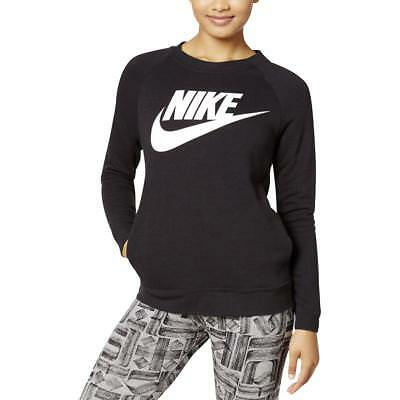 Nike 2155 Womens B/W Crew Neck Signature Pocket Sweatshirt Top L BHFO