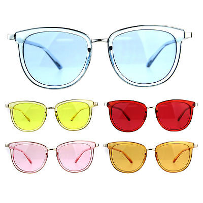 Retro Pop Color Double Horn Rim Womens Sunglasses
