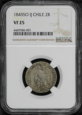 1845-SO IJ Chile Silver 2 Reales NGC VF-25 -168177