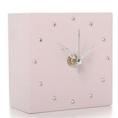 Shruti 10cm Pink Gem Mantel Cube Clock Kitchen Small Modern Contemporary Wooden