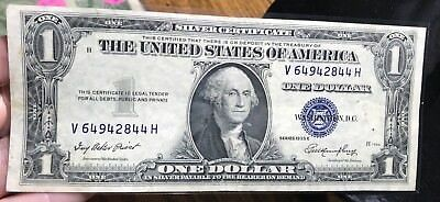 1935 E $1 Dollar Bill Old Us Paper Money Currency Blue Seal Collector Note.2844H