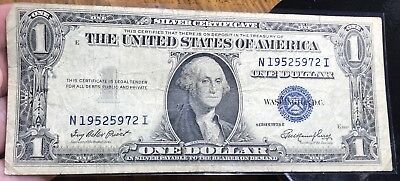 1935 E $1 Dollar Bill Old Us Paper Money Currency Blue Seal Collector Note.5972I