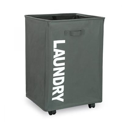 WISHPOOL Rolling Slide Foldable Laundry Hamper Laundry Basket Bin with Mesh Whee