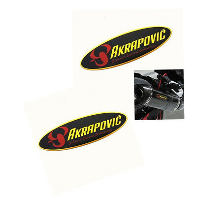 2PCS Motorcycle Exhaust Pipe Sticker Heat Resistant Oval AKRAPOVIC Refit Logo