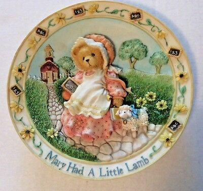 "Cherished Teddies Nursery Rhyme 3-D Plate Collection ""Mary Had a Little Lamb EUC"