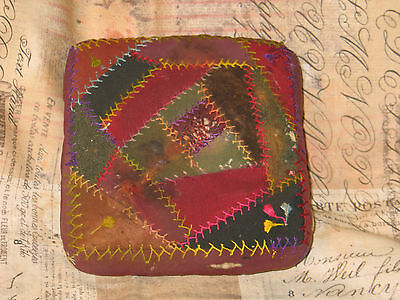Antique Victorian hand stitched Embroidery Crazy Quilt Pincushions-Sewing