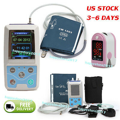 3-6 US NIBP Monitor 24Hour Ambulatory Blood Pressure Holter ABPM 50+Oximeter FDA