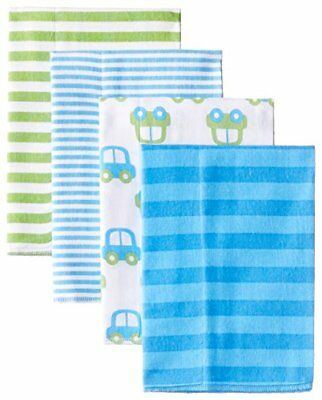 Gerber Baby Boys' 4 Pack Flannel Burp Cloths, Cars, One Size