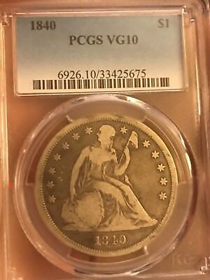 Certified 1840 seated liberty dollar , PCGS vg10