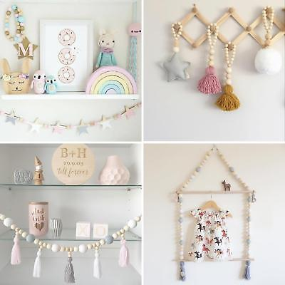 Wood Beads Tassel Wall Hanging Stars Decor Crafts Wall Decor for Kids Room Surp
