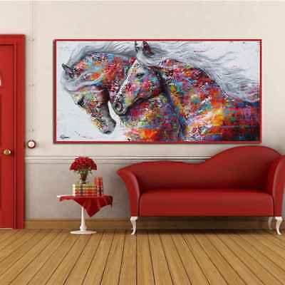 Two Running Horse Abstract Unframed Canvas Art Oil Painting Posters Pictures
