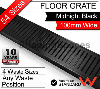 300mm - 5600mm  LAUXES Black Strip Linear Shower Grate Drain bathroom waste