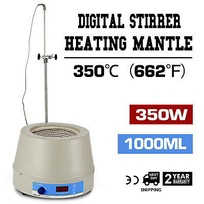 1000ml Electric Digital LCD Magnetic Stirring Heating Mantle Continuous 350W