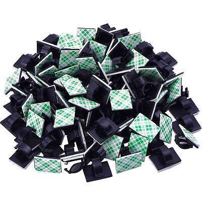 30Pcs Cable Clips Adhesive Cord Black Management Wire Holder Organizer Clamp