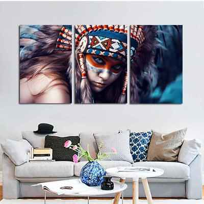 3 PCS Native American Indian Girl Printed Canvas Oil Painting Wall Art Picrtures