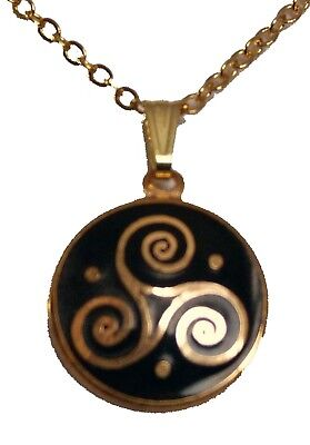 Enamel and Gold Plated Black Celtic Triskele Round Pendant Necklace 3276
