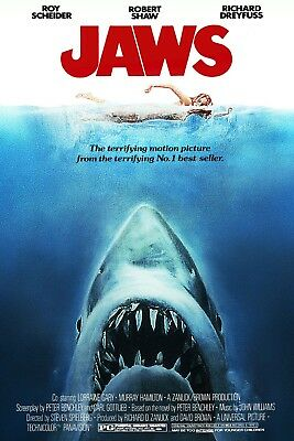 Jaws Movie Stretched Canvas Wall Art Poster