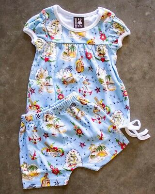 Six Bunnies Aloha Short Pyjama Set Baby Sleepwear Cute Blue Tattoo Rockabilly