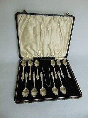 Vintage set of solid silver teaspoons with pair of sugar tongs - Birmingham 1940