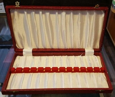 Antique Red Leather Silver Spoon Box or Jewellery Display Box | Empty