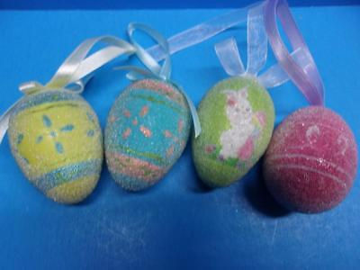 Vintage Lot of 4 Easter Egg Ornaments Beaded Sugared 2.5 Tall Decorations Spring
