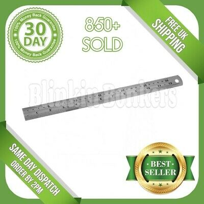 "Stainless Steel Metal Rule Metric & Imperial 12"" 30Cm 300Mm Long Engineers Ruler"