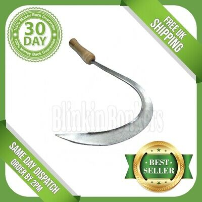 "Long 16"" Hand Sickle Grass Weed Cutter Cutting Garden Tool Cut Down Curved 27C"