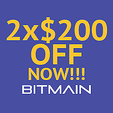 2 x Bitmain Coupons $200 (for all Bitmain miners) antminer S9, L3+, D3