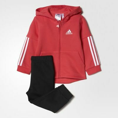 Adidas Infant Girls Pink Tracksuit  Jogger Set Coral/Black Size 2-3 Years BP5298