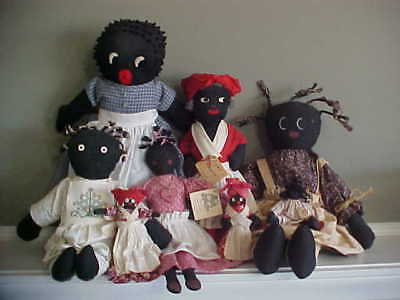 Lot of 8 Mammy / Black Folk Americana Cloth Dolls - Aunt Jemima  Clothespin Bell