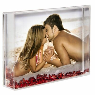 """Personalised Acrylic Photo Block Hearts Valentines Gift Present   4 x 6"""" Inch"""