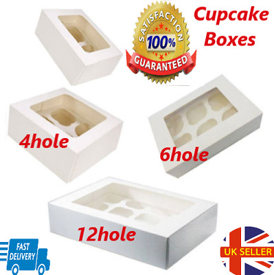 Cupcake Boxes for 1,4 Hole, 6 Hole & 12 Hole Cup Cakes Box With Removable Trays