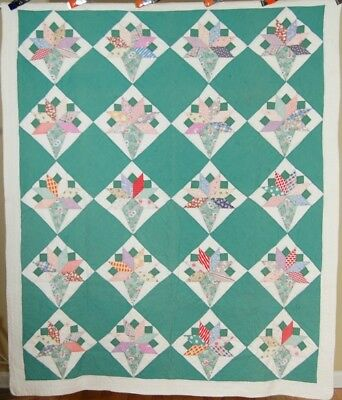 BEAUTIFUL Vintage 30's Nosegay / Ice Cream Cone Antique Quilt ~NICE QUILTING!