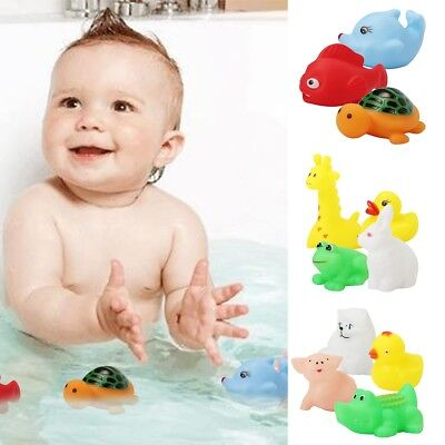 Lovely 13pcs Animal Child Baby Kids Bath Toy Rubber Float Squeeze Sound AU Post