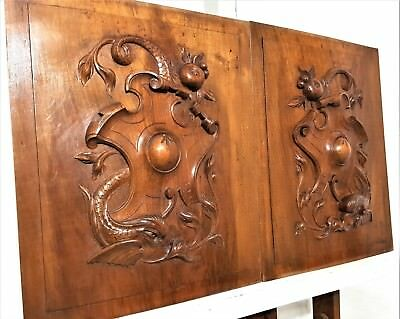 Pair Gothic Dolphin Panel Antique French Hand Carved Wood Architectural Salvage