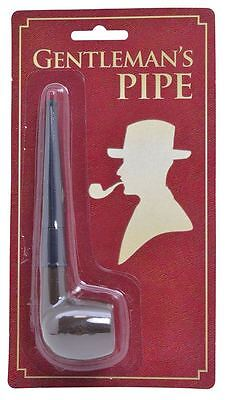 Fake Gents Old Man Sherlock Victorian Detective Wooden Smoking Pipe Fancy Dress