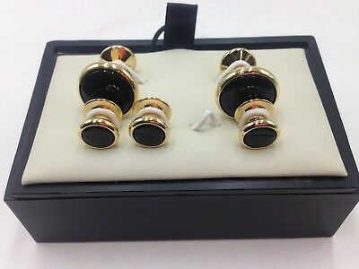 $180 Bloomingdales Men Black Gold Stud Cuffs Formal Wedding Cufflinks Set