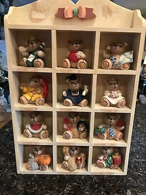 12 Ceramic Bears For Each Month And Wood Display Cabinet