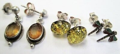 Three pairs good quality vintage sterling silver earrings (amber, citrine etc)