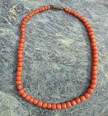 Stunning Antique Ladies Carved Red Round Bead Coral Necklace Chinese Interest