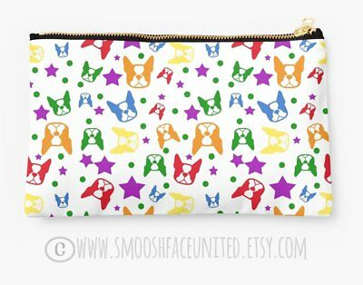 Boston Terrier zipper pouch, sleeve, pocket, clutch, bag, organizer - color OPTI