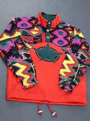 Felpa Pile Fila M Multi Color Crazy Pattern 90's Vintage Donna