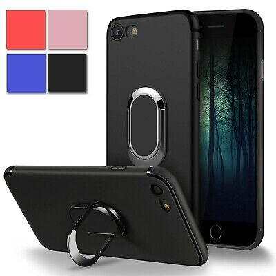For iPhone 8 7 Plus Slim Magnetic Soft TPU Back Case with Ring Holder Kickstand